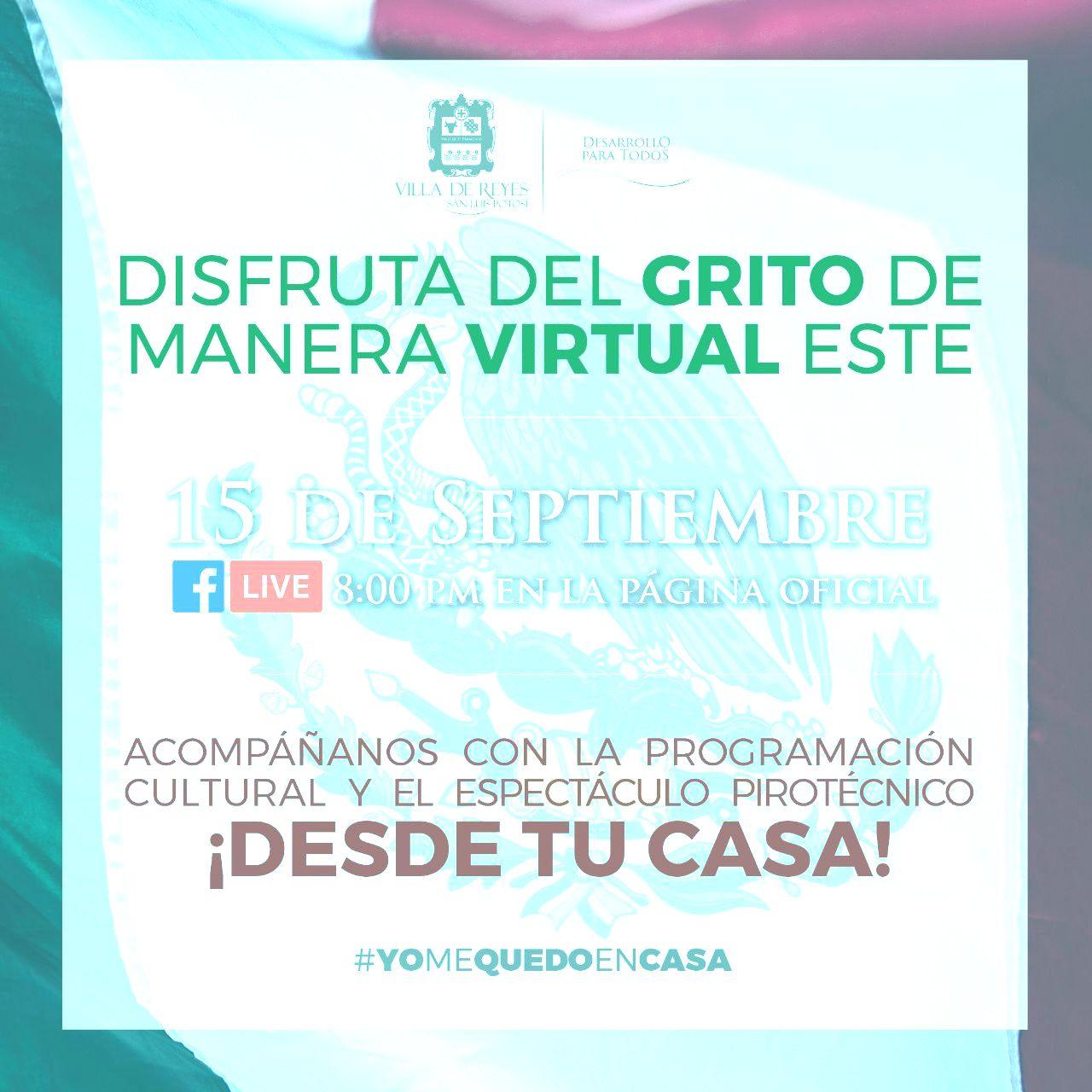 """Ayuntamiento villarreyense invita a la ceremonia virtual del """"Grito de Dolores"""""""